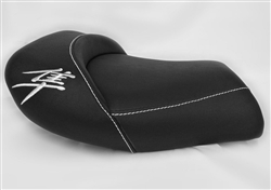 Hayabusa Custom Shaped Covered & Chrome Embroidered Front Seat w/White Stitching
