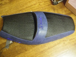 ZX-14 Ninja Custom Shaped Loglow Seats, Aligator/Ostrich Covered, Embroidered With Built In Blue LED Lights Seat