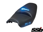 ZX-14 Ninja Custom Shaped Loglow Seats, Covered, Embroidered With Built In Blue LED Lights Seat