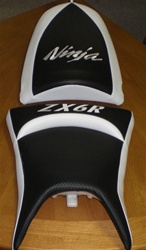 """New Image"" Custom ZX-6R Front & Rear Black/White Seats"