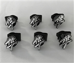 6PC Hayabusa Custom 3D Black/Silver Engraved & Ball Cut Undertail Bolts w/Stainless Steel Threads