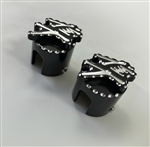 Hayabusa Black/Silver Engraved 3D Hex Brake & Clutch Mastercylinder Line Banjo Bolt Covers w/Ball Cut Edges