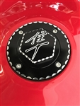 Suzuki 4 Hole Custom 3D Hex Black/Silver Engraved Fuel/Gas Cap w/Ball Cut Edges