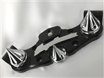 1999-2007 Hayabusa 3D Black/Chrome Engraved Smooth Lowering Triple Tree w/Built In Ignition Cover/ Grooved Spike Fork & Yoke Cap Package