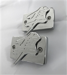 Hayabusa Chrome Huge 3D Engraved Kanji Brake & Clutch Reservoir Caps w/Smooth