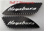 Hayabusa Black/Silver 3D Engraved & Ball Cut Side Tank Pads