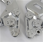 Hayabusa Chrome 3D Kanji Pocketed Engraved Front Peg Bracket Mounting Bolts & Covers w/Ball Cut Edges