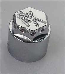 Hayabusa Chrome Engraved 3D Hex Kickstand Center Nut Cover w/Ball Cut Edges