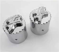 Hayabusa Chrome 3D Pocket Engraved & Ball Cut Fork Dampener Caps For Stock/OEM Triple Tree