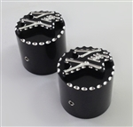 Hayabusa 3D Black/Silver Pocket Engraved & Ball Cut Fork Dampener Caps For Stock/OEM Triple Tree