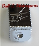 08-17 Hayabusa Custom Chrome LARGE Ignition Switch Cover/Cap Ball Cut Edges & Engravings