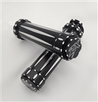 Kawasaki Sportbike Black Anodized Silver Engraved & Ball Cut Handlebar Grips with 3D Hex Bar Ends
