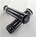 GSXR 600/750/1000 Black Anodized Silver Engraved & Ring Cut Grips with 3D Hex Bar Ends