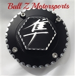 99-07 Hayabusa Custom 3D Hex Engraved Black/Silver Ball Cut Fuel/Gas Cap