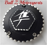 08-17 Hayabusa Custom 3D Hex Engraved Black/Silver Ball Cut Fuel/Gas Cap