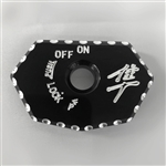 08-17 Hayabusa Black Anodized Ignition Switch Cover w/Silver Engravings & Ball Cut Edges