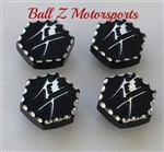 Hayabusa Black/Silver 3D Hex Ball Cut Triple Tree Bolt Plugs/Covers/Caps