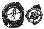 Hayabusa Black/Silver Ball Cut 3D See Through Clutch Cover & Stator Cover Set