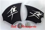 Hayabusa Black/Silver 3D Engraved & Ball Cut Side Heel Guards