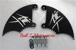 99-07 Hayabusa Black/Silver 3D Engraved & Ball Cut Front Brake Caliper Covers