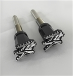 08-17 Hayabusa Custom Black/Silver Engraved & Ball Cut 3D Logo Billet Seat Thumbscrew Bolts w/Stainless Steel Threads