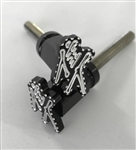 Hayabusa Custom 3D Kanji Logo Billet  Black Anodized Seat Thumbscrew Bolts w/Silver Ball Cut Edges & Pocketed Engravings