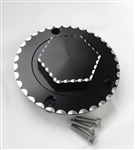 Hayabusa GSXR 600/750/1000 Custom Black/Silver 3D Hex Ball Cut Fuel Lid/Gas Cap