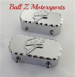 Hayabusa Chrome 3D Engraved Ball Cut Front Fork/Axle Pinch Bolt Caps/Covers