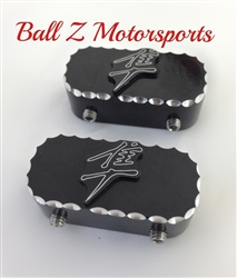 Hayabusa Black/Silver  3D Engraved Ball Cut Front Fork/Axle Pinch Bolt Caps/Covers