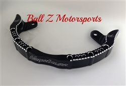 Black Anodized Hayabusa Hole Shot Grab Bar w/Silver Ball Cut Edges & Laser Engravings