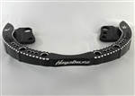 99-07 Hayabusa Black Anodized Hole Shot Rear Passenger Grab Rail/Bar w/Laser Etched Logos & Silver Ball Cut Edges