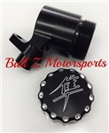 Hayabusa Black/Silver Ball Cut Kanji Logo Laser Etched Quick Access Rear Brake Fluid Reservoir!