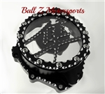 Custom Black/Silver Ball Cut Hayabusa See Through Stator Cover w/Metal Kanji Cut Out