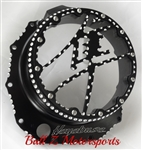 Custom Black/Silver Contrast Ball Cut Hayabusa Metal Kanji See Through Clutch Cover