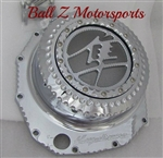 Custom Chrome Ball Cut Hayabusa Metal Kanji See Through Clutch Cover