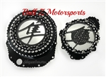 Hayabusa Custom Black/Silver Ball Clutch Clear See Through Clutch Cover & Stator Cover Set