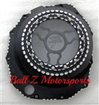 Hayabusa B-King Black/Silver Ball Cut See Through Clutch Cover w/Logo