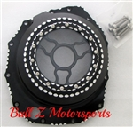 Custom Hayabusa Black/Silver Ball Cut Wicked Clutch Cover