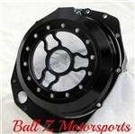 Custom Hayabusa Solid Black See Through Wicked Clutch Cover w/Logo
