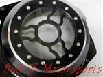 "Custom Hayabusa Black/Silver Ring See Through Wicked Clutch Cover ""Clear"""