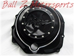 ZX-14 Black/Silver Ring 3D Ninja Logo See Through Clear Clutch Cover