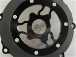 "ZX-14 Custom Billet Black Wicked See Through Stator Cover Laser Etched ""Ninja"" Logo"