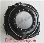 ZX-14 ZX14R Black/Silver Ring Ninja Logo Wicked See Through Clear Clutch Cover