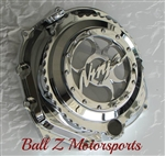 Chrome ZX14 ZX14RSee Through Ball Cut Clutch Cover w/3D Ninja Logo