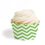 Cupcake liner green and white chevron 20 Count