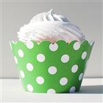 Cupcake liner green and white dots 20 Count