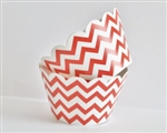 Cupcake liner red and white Chevron 20 Count
