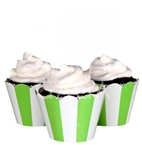 Cupcake liner green and white stripes 20 Count