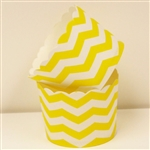Cupcake liner yellow and white chevron 20 Count