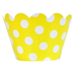 Cupcake liner yellow and white dots 20 Count